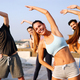 Portrait of smiling fit happy people doing power fitness exercise - PhotoDune Item for Sale