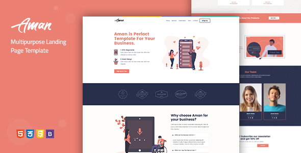 Aman — Multipurpose Landing Page Template by Divine-Store