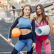 Sports girls in a uniform training at the stadium - PhotoDune Item for Sale