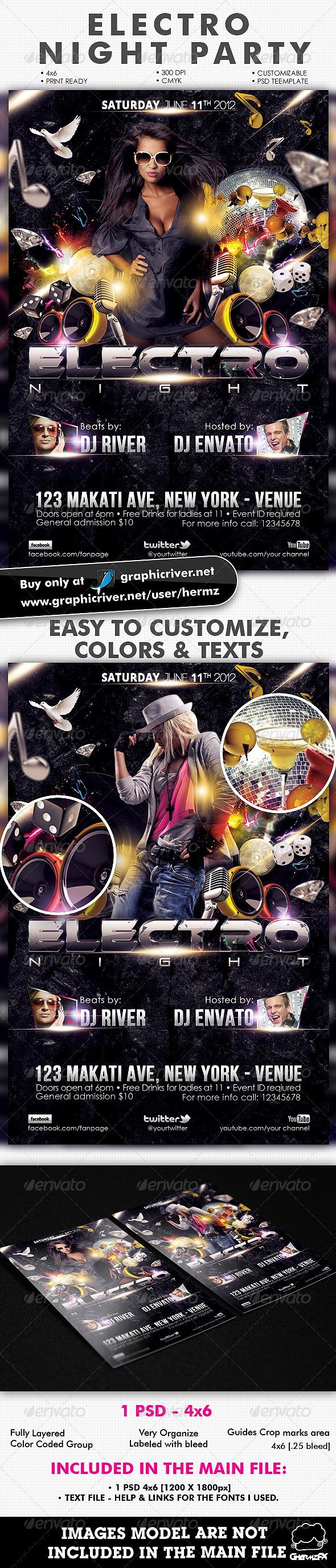 Electro Nights Flyer Template - Flyers Print Templates