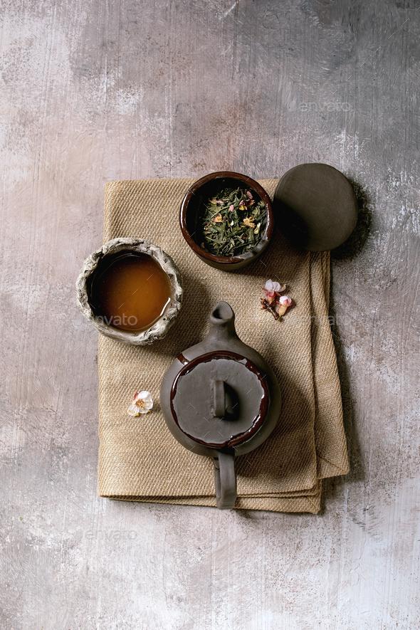 Tea drinking wabi sabi style - Stock Photo - Images