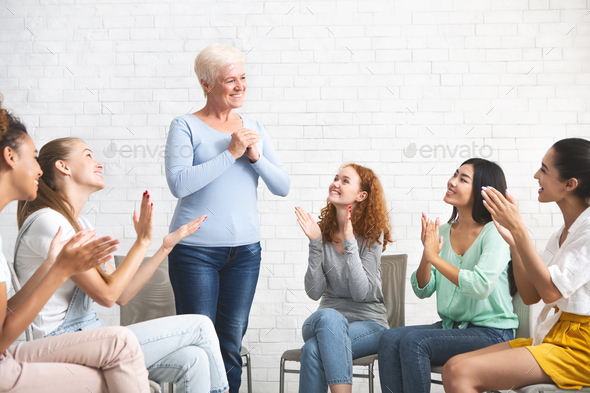 Woman Expressing Gratitude For Psychological Help During Group Therapy Indoors - Stock Photo - Images