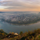 Panoramic view on Zalishchyky city and Dniester river meander and canyon at dawn - PhotoDune Item for Sale