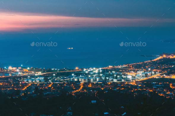 Batumi, Adjara, Georgia. Aerial View Of Cityscape At Evening. Black Sea, Port And Fuel Storage In - Stock Photo - Images