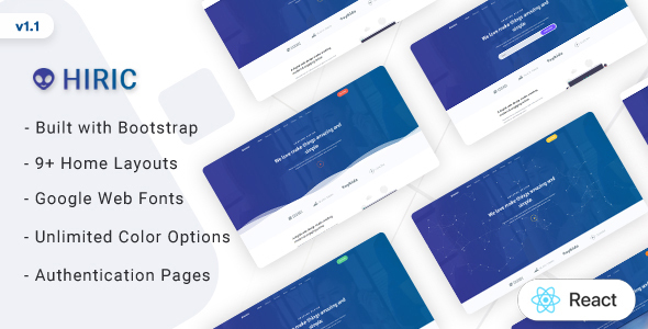 Hiric - React Landing Page Template by Themesbrand