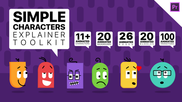 Simple Characters Explainer Toolkit | Essential Graphics Mogrts