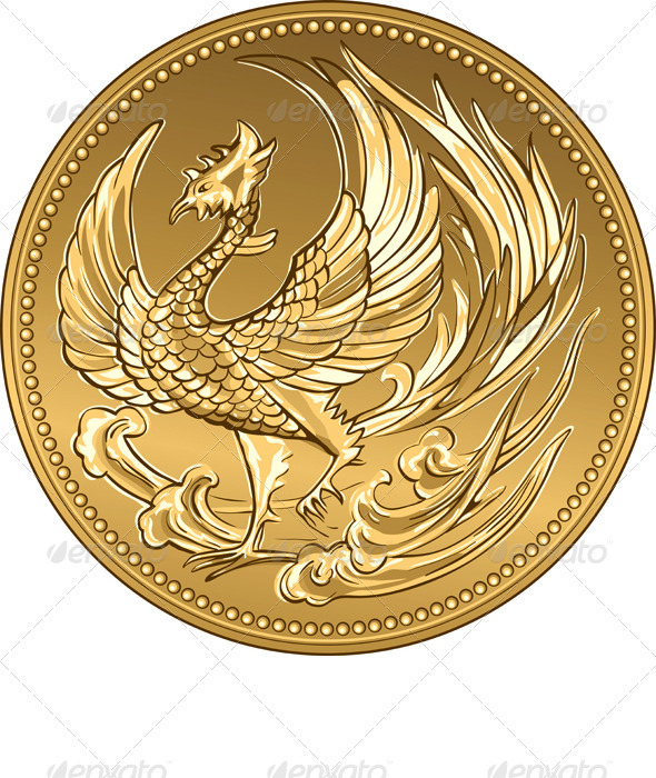vector Japanese money gold coin with phoenix - Business Conceptual