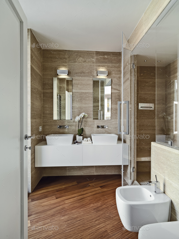 Interiors of the Modern Bathroom with Wood Floor - Stock Photo - Images