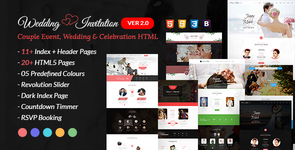 Wedding Event  - Couple Invitation and Wedding Celebration HTML Template