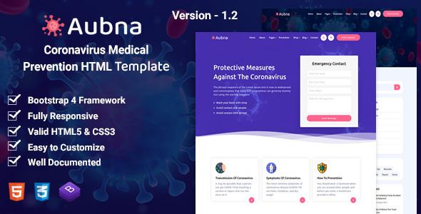 Extraordinary Aubna - Coronavirus Medical Prevention HTML Template
