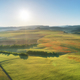 Aerial fields and meadow in mountain. - PhotoDune Item for Sale