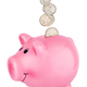 Pink piggy bank with falling coins isolated on white - PhotoDune Item for Sale
