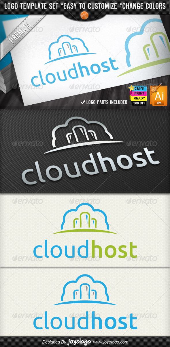 IT Business Computing Cloud Hosting Logo Designs - Objects Logo Templates