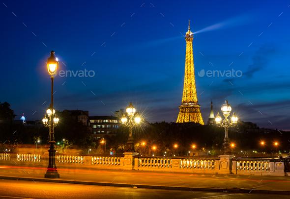 Eiffel Tower and bridge Alexandre - Stock Photo - Images