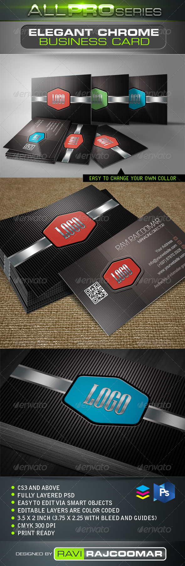 Elegant Chrome Business Card - Business Cards Print Templates