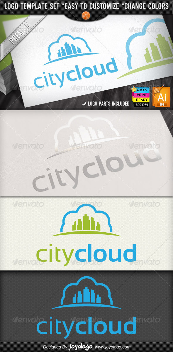 Modern Town Retro Sky Cloud City Logo Designs - Buildings Logo Templates