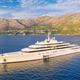 Luxury yacht and blue sea at sunset in summer. Aerial view - PhotoDune Item for Sale