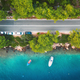 Aerial view of road in beautiful green forest and boats and yacht - PhotoDune Item for Sale