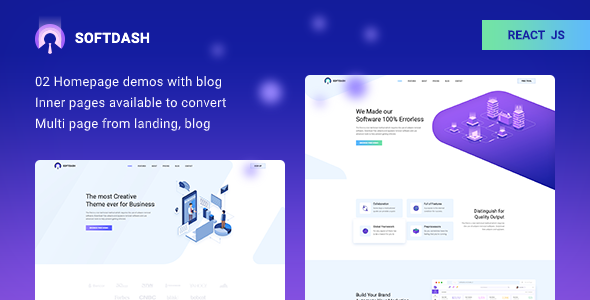 Softdash - Creative SaaS and Software REACT Template