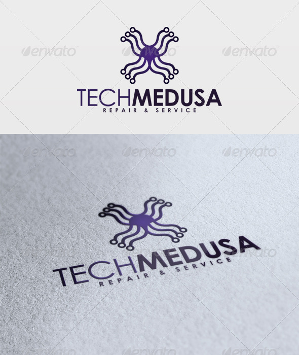 Tech Medusa Logo - Vector Abstract