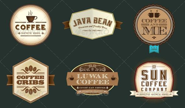 Vintage Retro Coffee Labels - Decorative Symbols Decorative