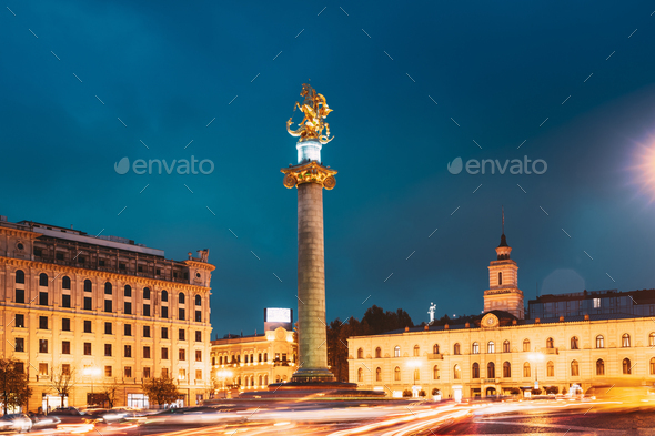 Tbilisi, Georgia, Eurasia. Liberty Monument Depicting St George Slaying The Dragon And Tbilisi City - Stock Photo - Images