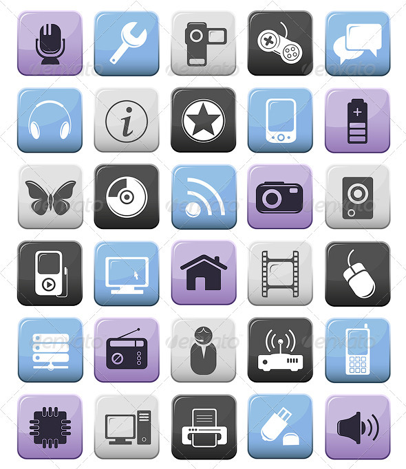 Computer And Multimedia Icon Buttons Set - Computers Technology