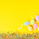 Happy Easter concept. Yellow paper background. - PhotoDune Item for Sale