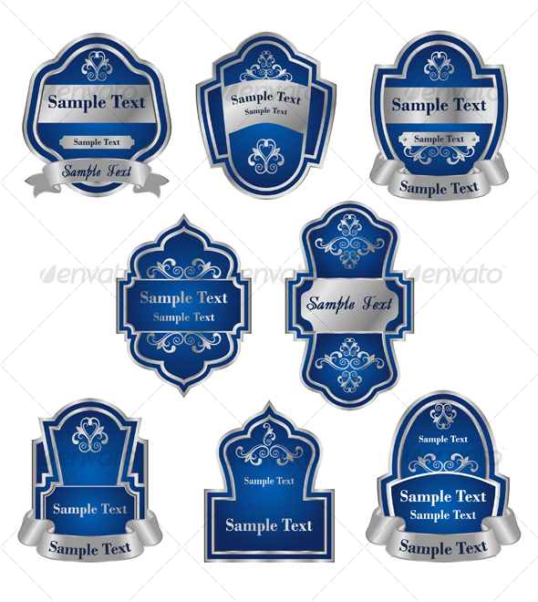 Set of vintage silver labels 2 - Decorative Vectors