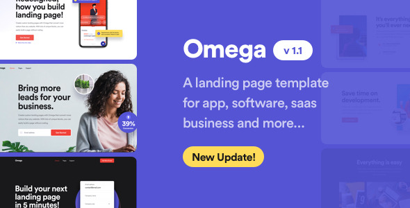 Omega - Landing Page Template for SaaS, Startup & Agency