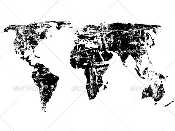Grunge world map - Objects Vectors