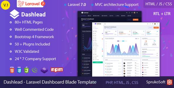 Dashlead – Laravel Admin Template