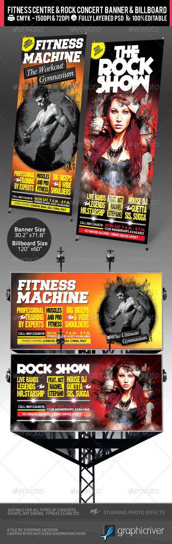 Rock Concert & Fitness Club Billboard+Banner PSD - Signage Print Templates