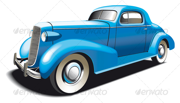 Blue Old Car - Objects Vectors