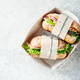 Two fresh sandwiches with ham, cucumbers, lettuce and onions - PhotoDune Item for Sale