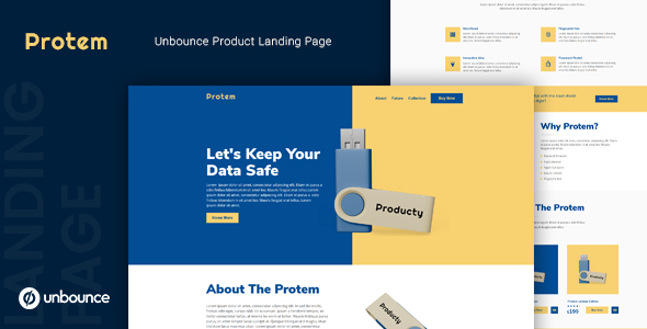 Protem — Unbounce Product Landing Page Template by thememor