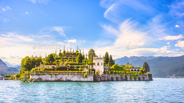 Isola Bella island in Maggiore lake, Borromean Islands, Stresa Piedmont Italy - Stock Photo - Images
