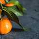 Juicy ripe tangerines with leaves on wooden table - PhotoDune Item for Sale