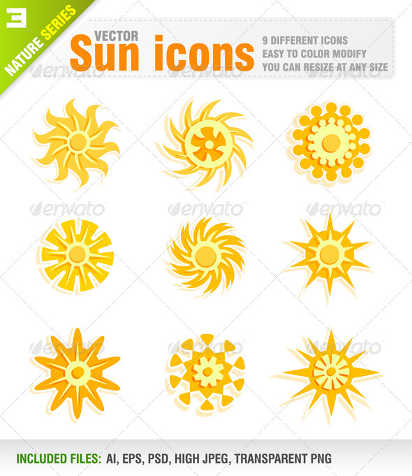 9 Sun icons - Nature Conceptual