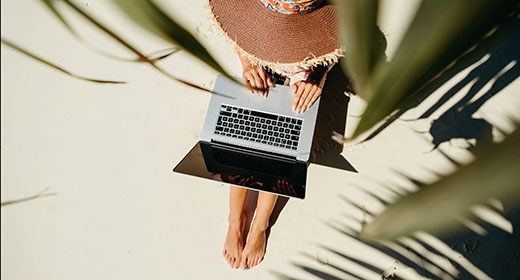 Freelancer working remote in tropics