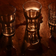 Light and shadow of drinking glass on wooden table - PhotoDune Item for Sale