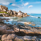 La Digue island, Seychelles. Tropical coastline with hidden beach, unique granite rocks in evening - PhotoDune Item for Sale