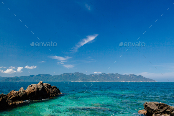 picturesque blue ocean lagoon - Stock Photo - Images
