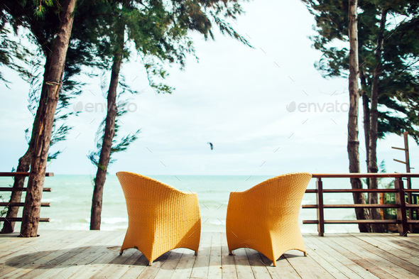 two armchairs on the beach seaview nobody - Stock Photo - Images