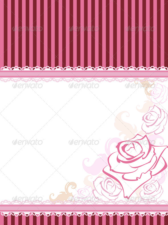 Vector Card with Rose - Backgrounds Decorative