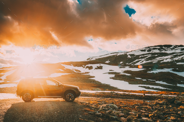 Aurlandsfjellet, Norway. Car SUV Parked Near Aurlandsfjellet Scenic Route Road In Summer Norwegian - Stock Photo - Images