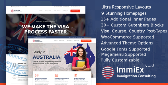 ImmiEx - Immigration and Visa Consulting WordPress Theme
