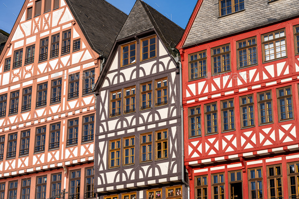 Facade of some half-timbered houses - Stock Photo - Images