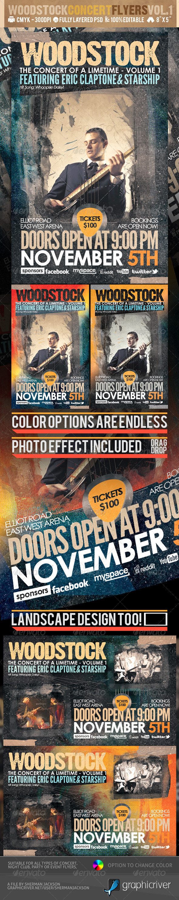 Woodstock PSD Flyer Templates Vol-1 - Concerts Events