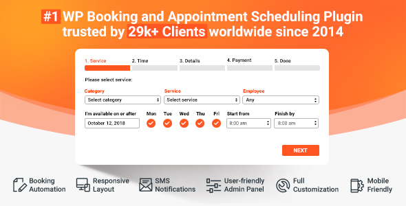 Bookly PRO –Appointment Booking and Scheduling Software System Nulled